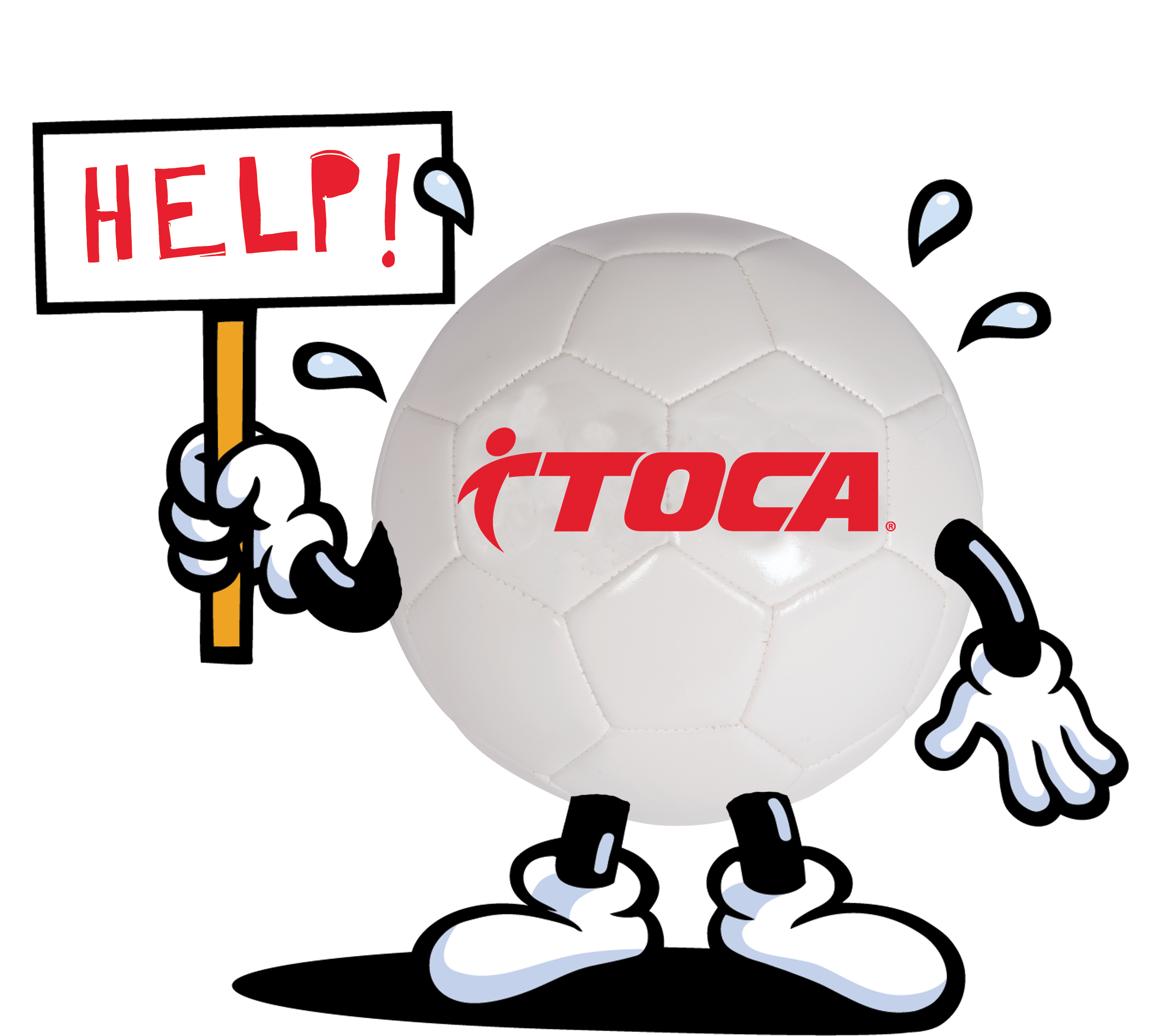 Soccer ball that needs help with a hardship.