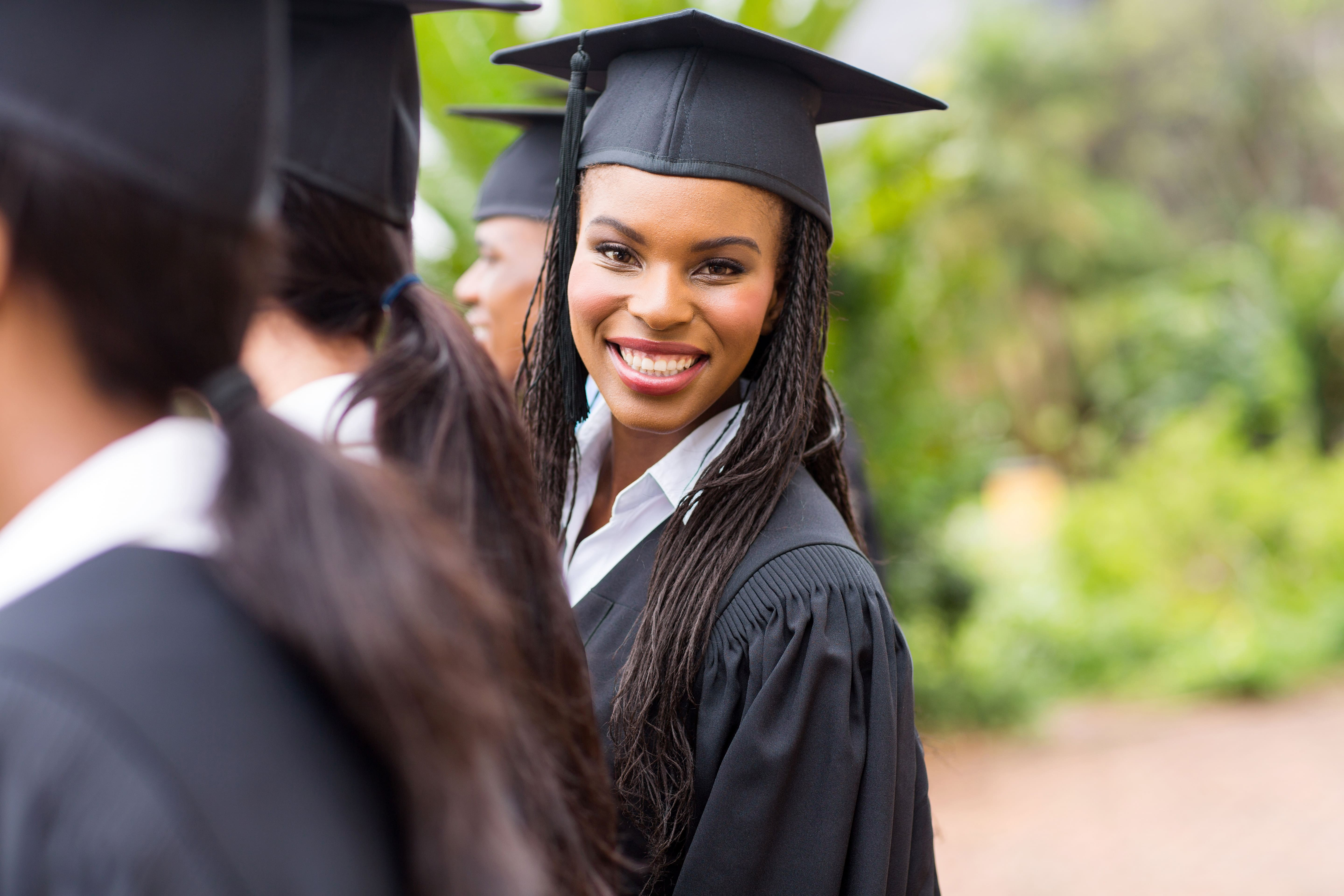 Young woman graduating from college.